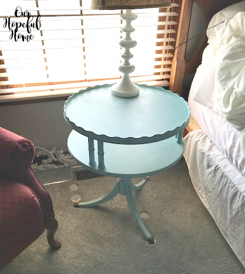 side table French farmhouse three legs two tier