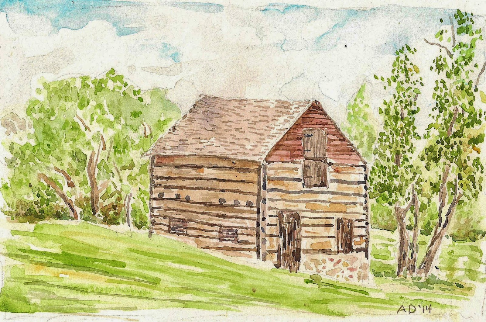 Artist Adron Watercolor Sketch Of An Old Barn