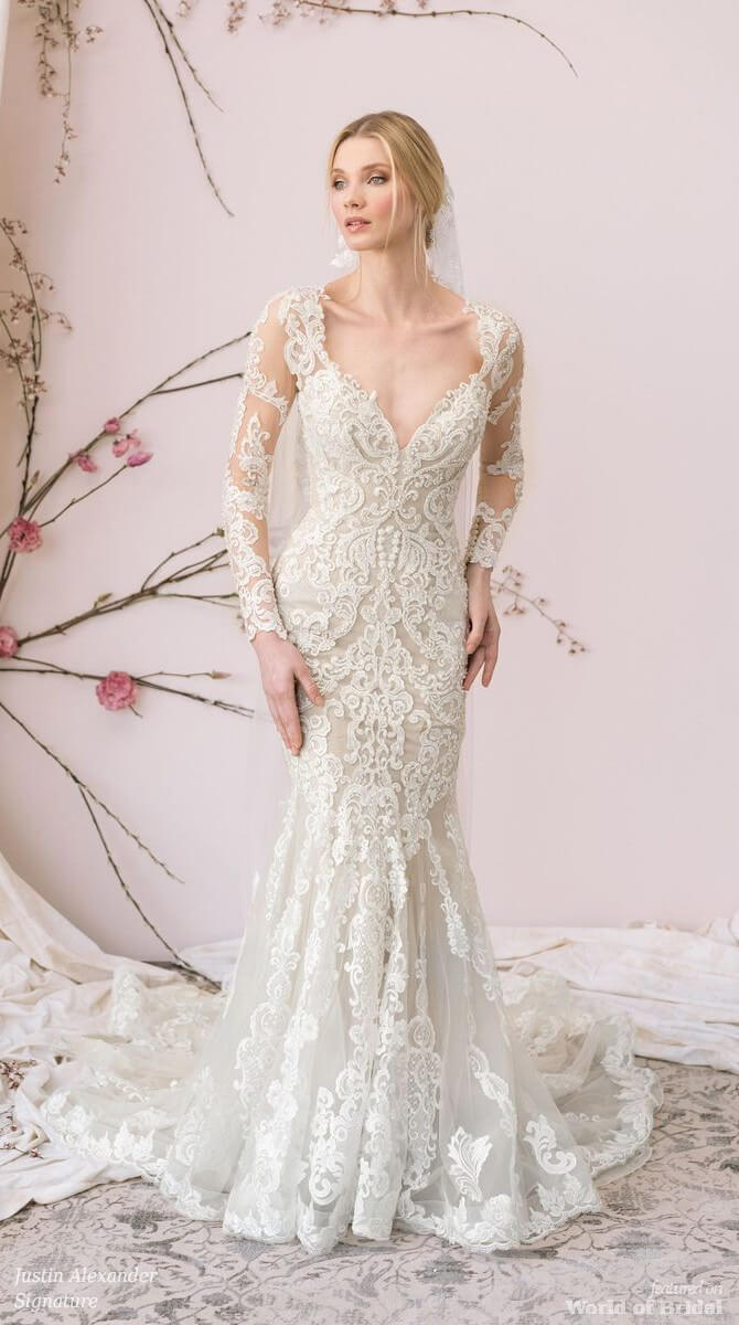 dbce956890b Justin Alexander Signature Spring 2018 Allover Lace Gown with Long Sleeves