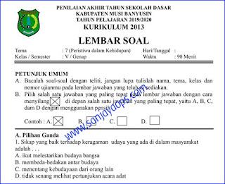 Download Soal PAT PAS UKK Kelas 5 Tema 7 K13 PDF Tahun 2019/2020