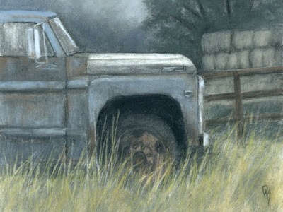 art drawing charcoal truck abandoned rust rural farm