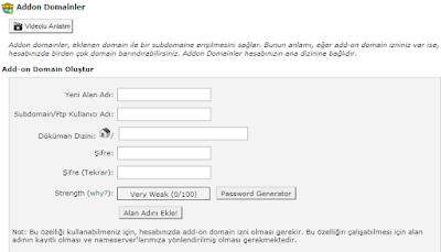 Hosting Paketlerindeki Eklenebilir Addon Domain Web Site Adeti