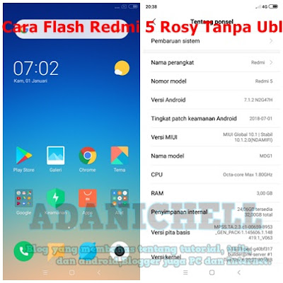 Cara Flash Redmi 5 Rosy Tanpa Ubl