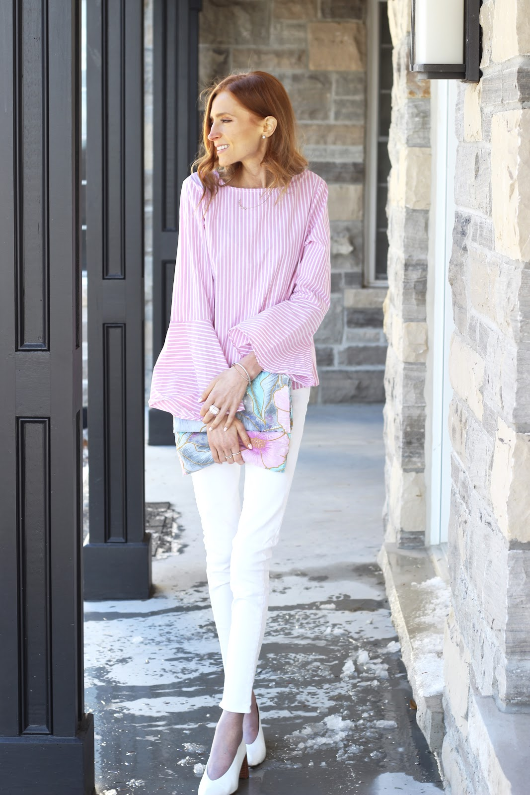 pink stripe bell sleeve blouse, white american eagle denim, zara white leather kitten heels, diy floral clutch