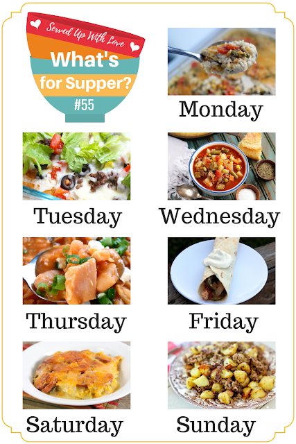 What's for Supper Sunday meal plan recipes include Chicken and Rice Casserole, Taco Pizza, Hamburger Hash, Vegetable Beef Stew, Buffalo Chicken Chili, and more.