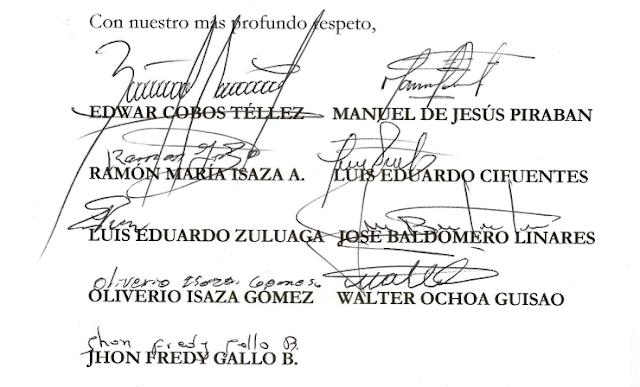 Carta a los miembros de la Comisión de Paz - Senado de la República