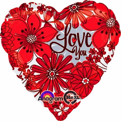 фольгированные шарики сердечки с красными цветочками