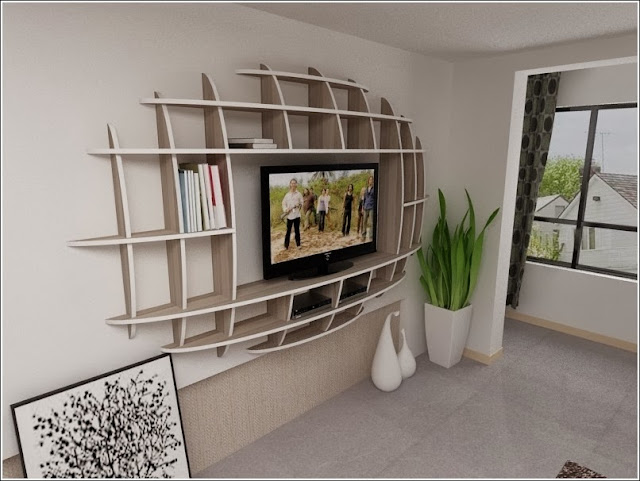 Modern 3D Shelf Unit Design for Your Living Room