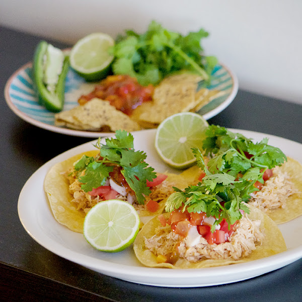 Pulled Chicken Tacos with Tomatillo Sauce