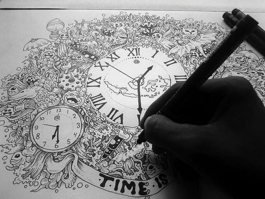 09-Time-Mr-A-Black-and-White-Ink-Doodles-www-designstack-co