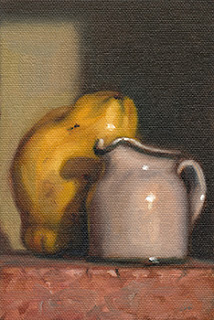 Still life oil painting of a white porcelain milk jug beside a quince.
