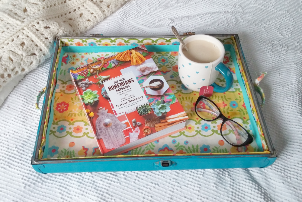 make a tray from an old suitcase lid