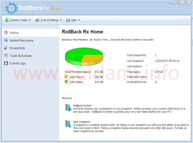 RollBack Rx Home Edition schermata Home