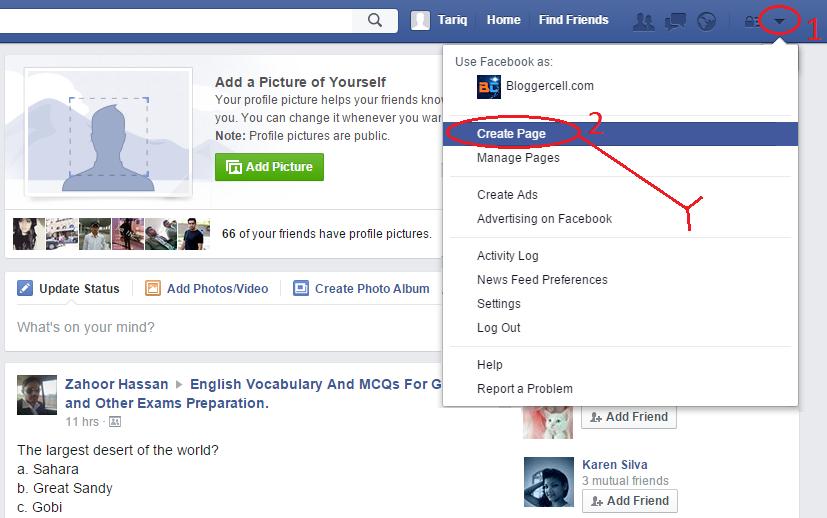create page option
