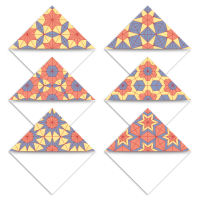 Set of six geometric hexagon patterned printable bookmark corner page markers in blue, yellow and orange.