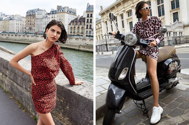 Красное короткое платье с леопардовым принтом с кроссовками