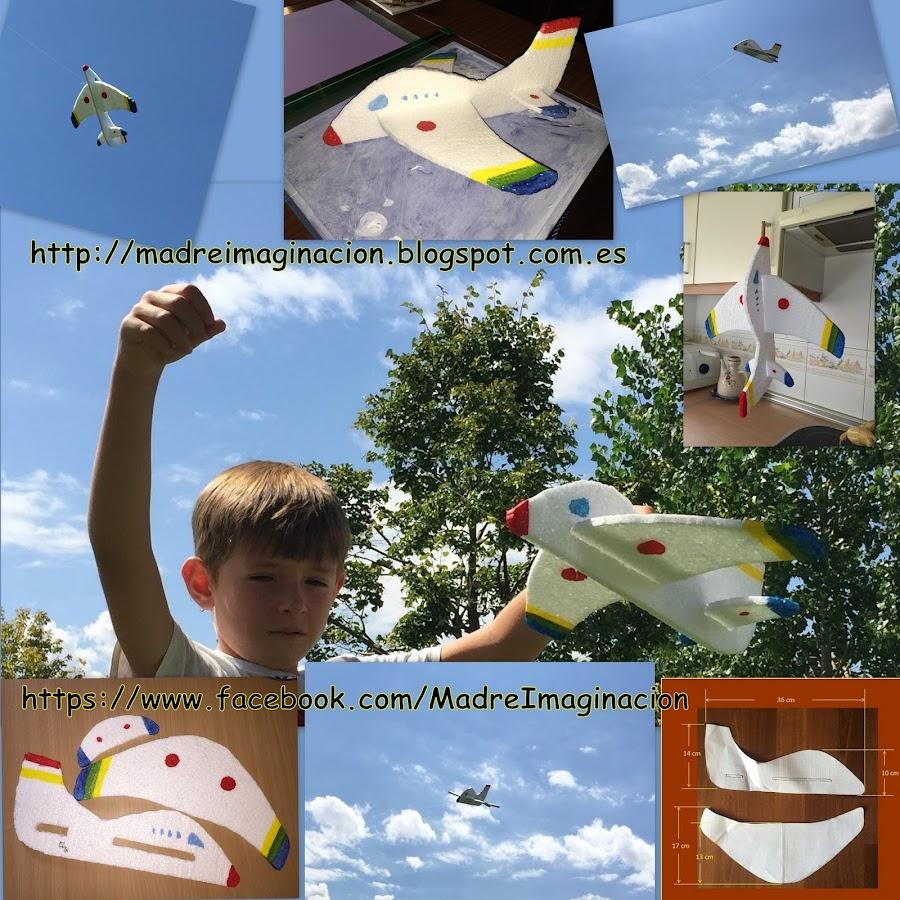 Resumen del proceso para hacer un avion de poliespan en un collage de imagenes