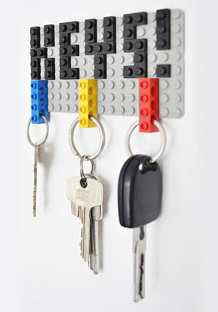 tempat gantung kunci lego, lego key holder, kreatif tempat letak kunci,
