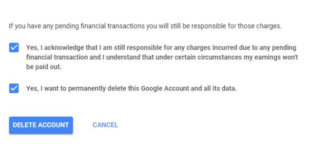 menyetujui penghapusan akun google