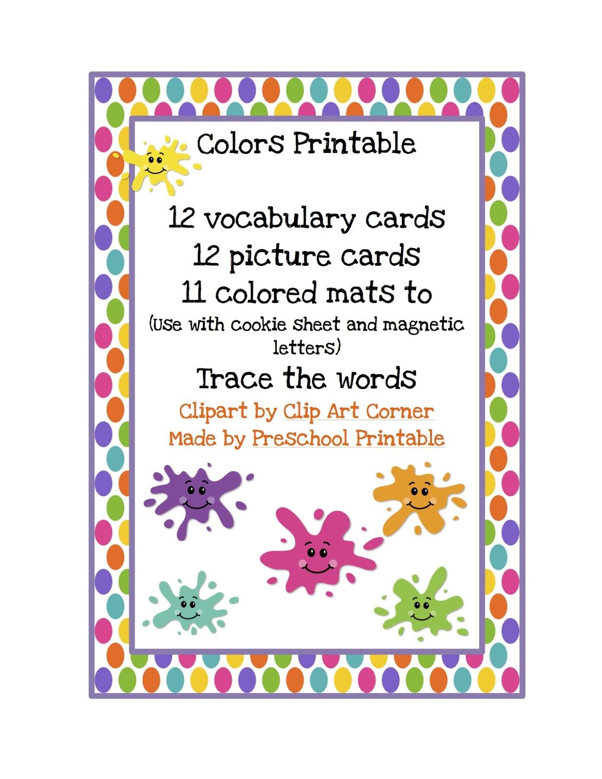 learning colors printable preschool printables. Black Bedroom Furniture Sets. Home Design Ideas
