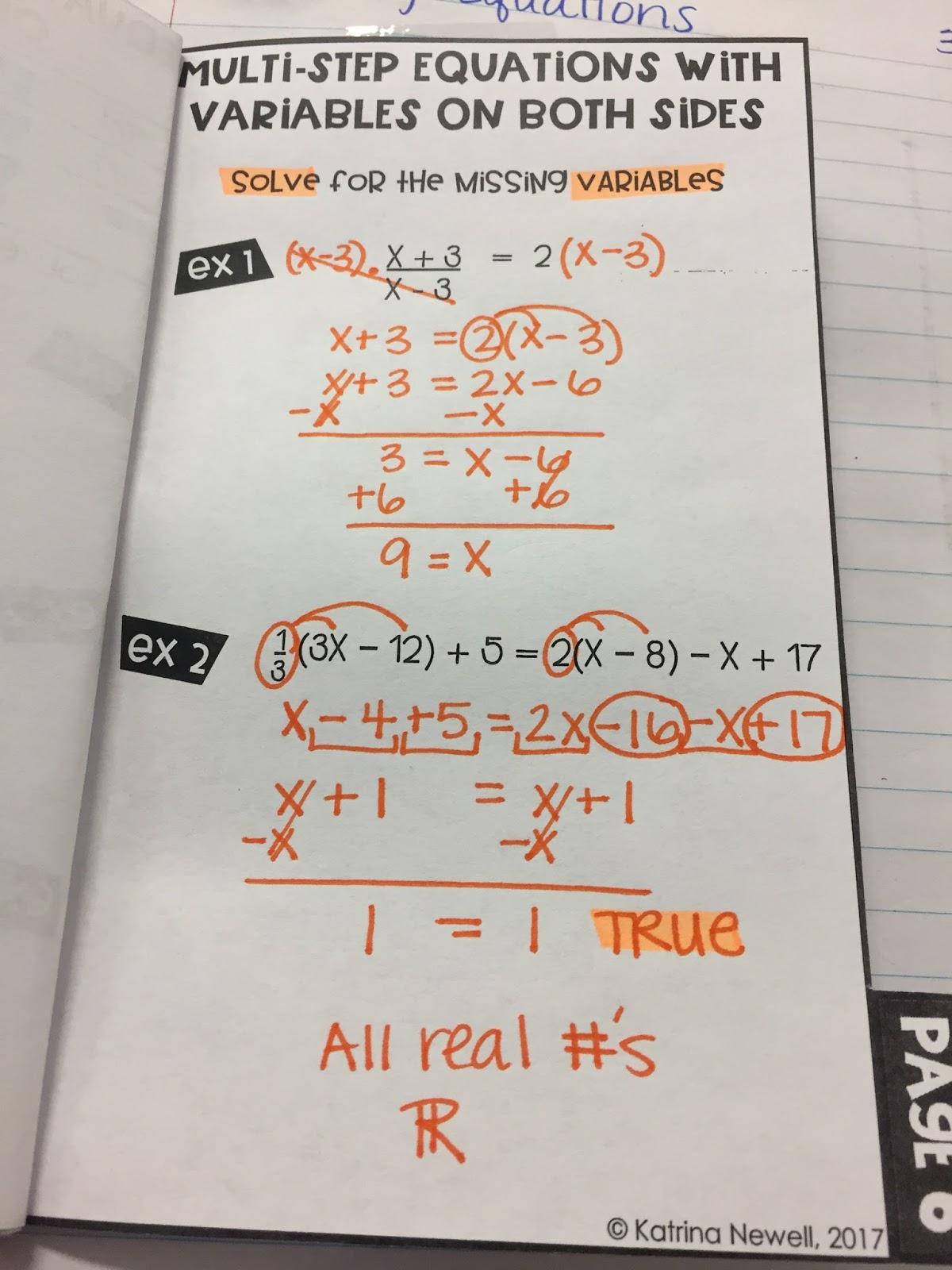 Multi Step Equations Inb