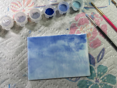 Enamel CFE Colors For Earth UGC Sky Blue Clouds Watercolor Painting Handmade Glass Fused Sharon Warren FluterbyButterfly FlutterbyFoto Bullseye