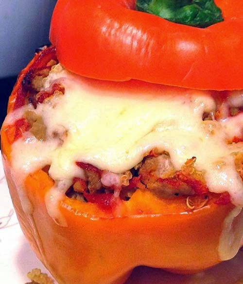 Bell peppers with ground turkey stuffing. Add quinoa, sriracha and mozzarella. Just Yum!