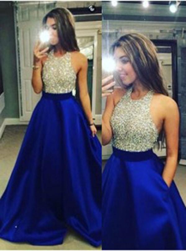 Halter Neck Beaded Long Satin Prom Dress-Royal Blue Backless Evening Prom Dress