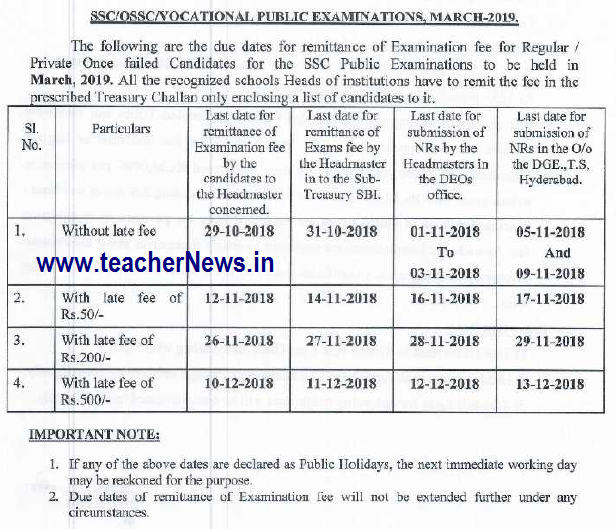 TS SSC/ 10th Exam Fee Due Date 2019 - SSC Exam Fee Last Date March 2018-19