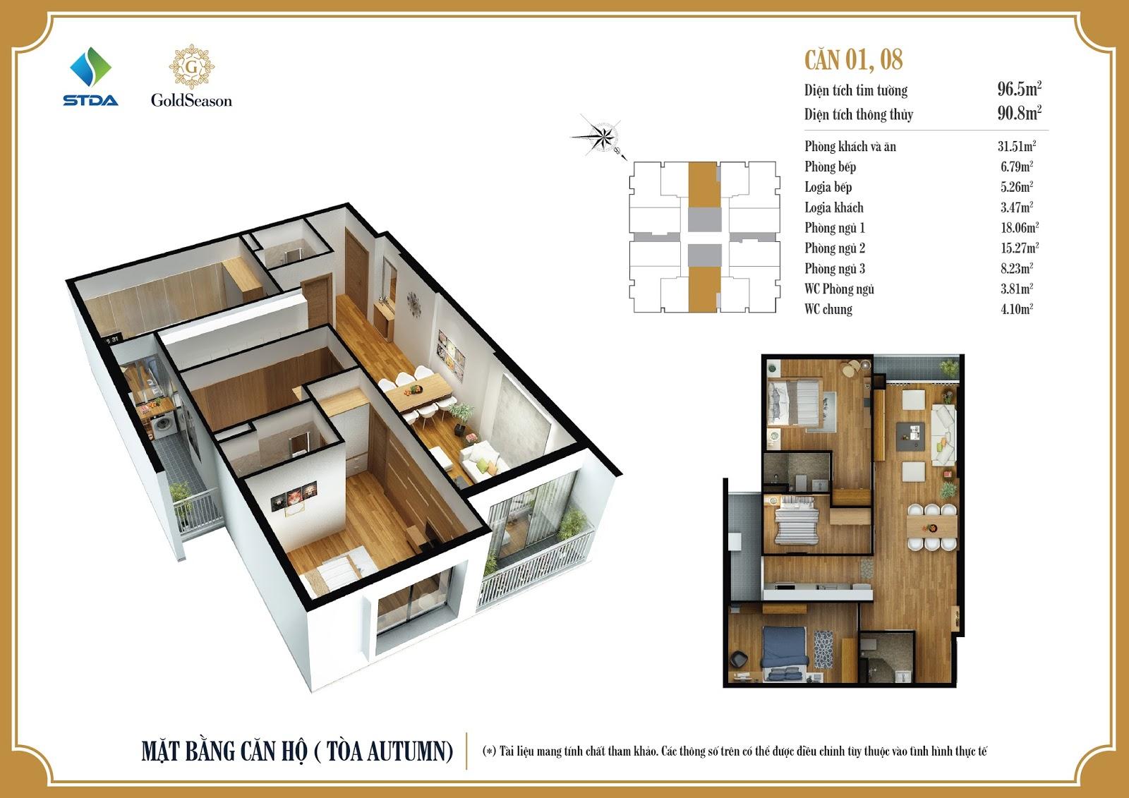 Mặt bằng căn hộ 01, 08 - 96,5m2 - GoldSeason