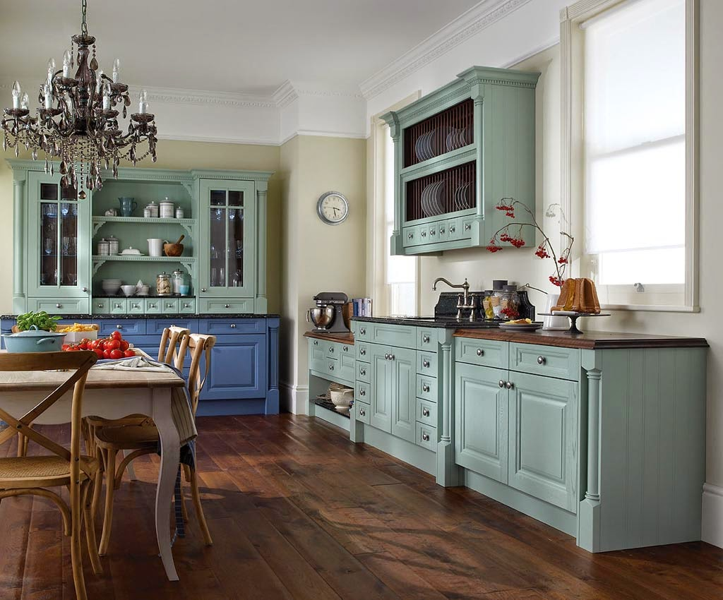 kitchen interiors refurbished kitchen cabinets Tortoise kitchen cupboards and a massive antique lamp is a perfect choice for large spaces