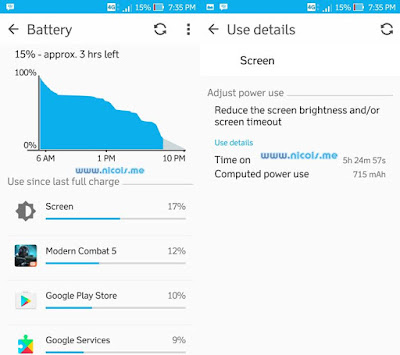 Pada pengetesan ze520kl secara intense Didapatkan SoT 5 jam 24 menit dari keadaan baterai 100% sampai sisa baterai sebanyak 15%.