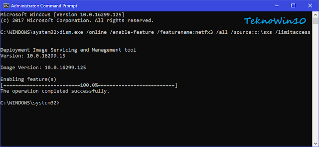 Pesan complete install Net Framework 3.5