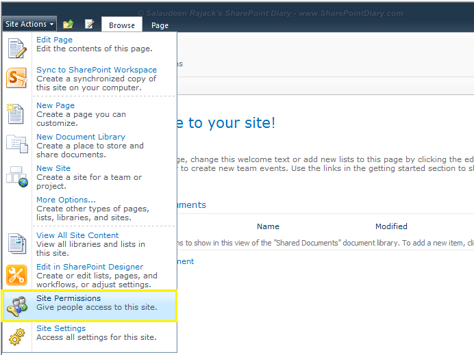 sharepoint 2010 add permission level