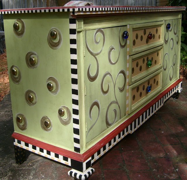 funky hand painted dresser makeover