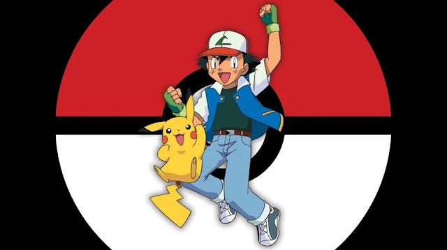 Imagem de Ash e Pikachu juntos, os protagonistas do desenho animado Pokémon.