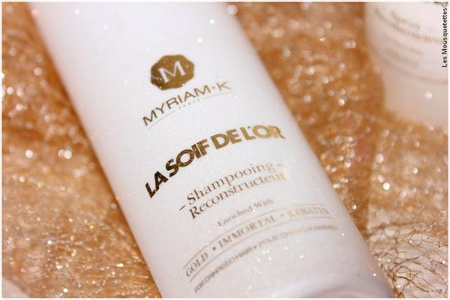 Myriam K, La Soif de l'Or, gamme soin capillaire à la poudre d'or - Shampoing - Blog beauté