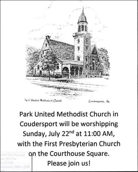 7-22 Park UMC To Join First Presbyterian On North Main Street in Coudersport Sunday