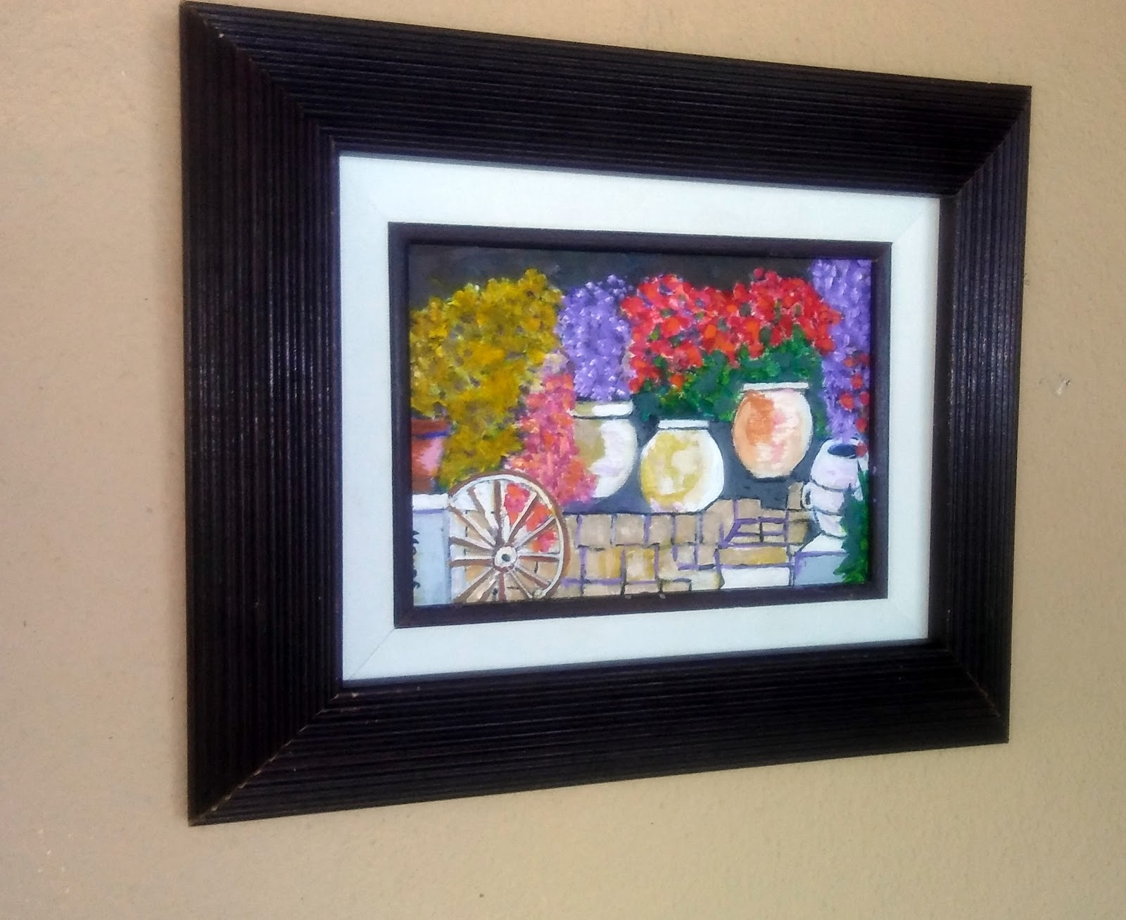 Brushworks by Monte: Potted Flowers on Garden Patio - Acrylic on ...
