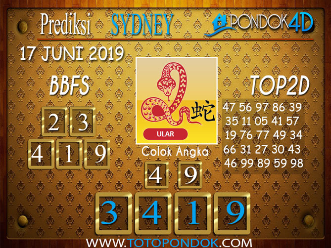 Prediksi Togel SYDNEY PONDOK4D 17 JUNI 2019