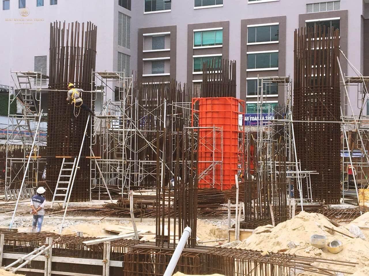 Hình ảnh thực tế dự án 40 Trần Phú đang đổ cột của tầng 1