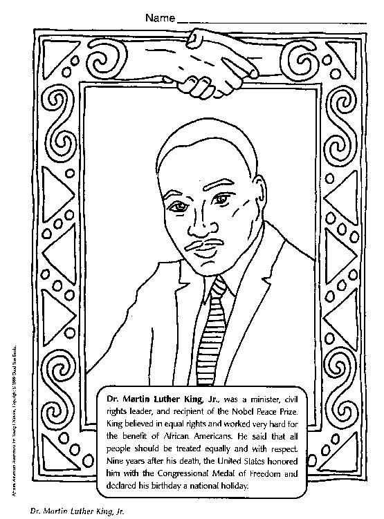 free printable martin luther king coloring pages - biography martin luther king jr ingl s na sala de aula