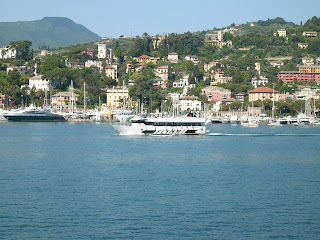 Rapallo: villas nestle among the trees above the waterfront at the attractive resort on the Ligurian Riviera