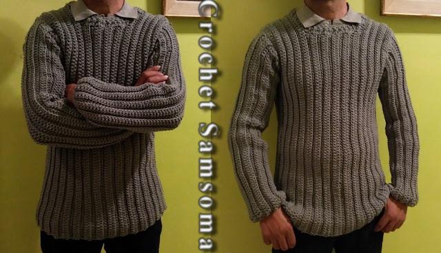كروشيه بلوفر . كروشيه بلوفر رجالي . كروشيه بلوفر لأي مقاس . crochet jersey  .  crochet pullover