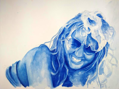 Retrato en acuarela en gama de azules