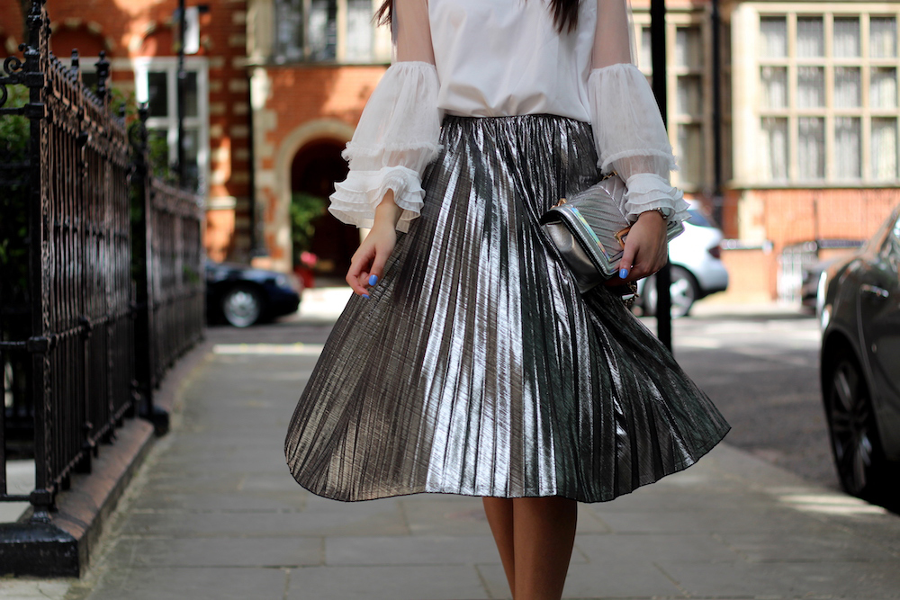 pleated silver midi skirt little mistress peexo