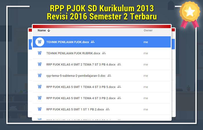 RPP PJOK SD Kurikulum 2013 Revisi 2016 Semester 2