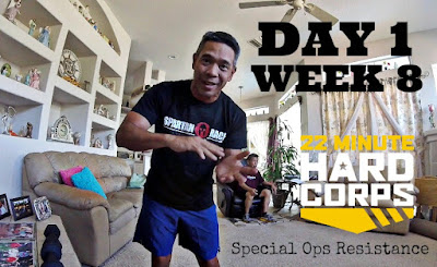 Day 1 Week Eight 22 minute Hard Corps, 22 Minute Hard Corps Special Ops Resistance, Beachbody Workouts for Obstacle Racing, Obstacle Course Race Training with P90X, Beachbody OCR Fit, Beachbody OCR Coach, Mud Titan 6 Video