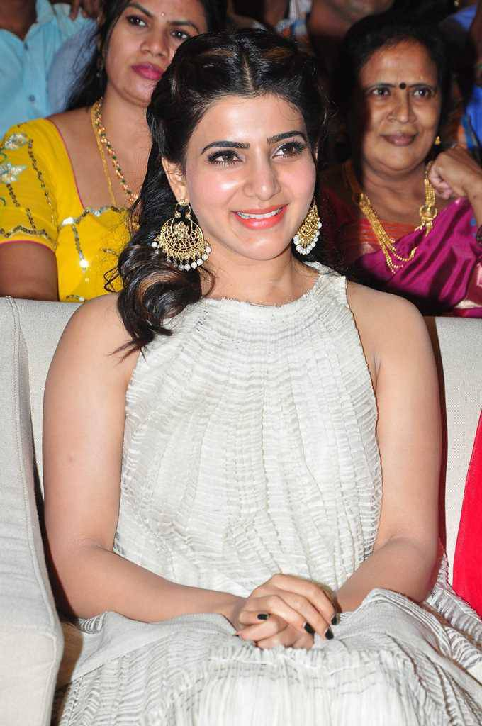 Actress Samantha Smiling Face Stills In White Dress At Launch