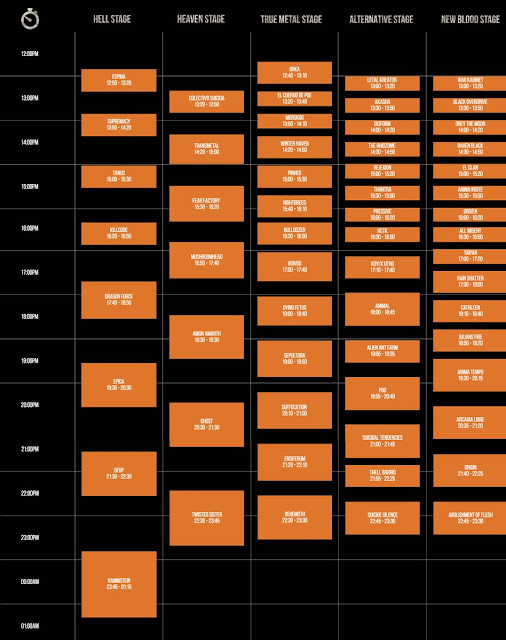 Hell And Heaven Horarios
